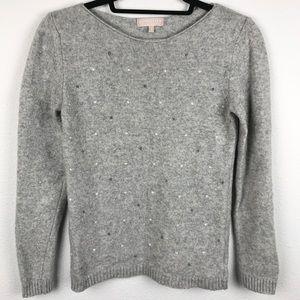 BENEDETTA B Swiss Dot Grey Wool Blend Cashmere Swe